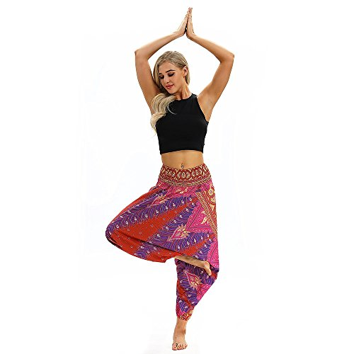Sunmoot Boho Print Yoga Pants Womens Men High Waist Casual Summer Loose Baggy Aladdin Jumpsuit Elastic Waist Harem Trousers (Fendi Junior)
