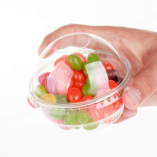 Halloween Pudding Cup Treats (GOLDEN APPLE, 3.5oz Clear Plastic Cups for Ice Cream, Snack Bowl with Dome lids No Hole)