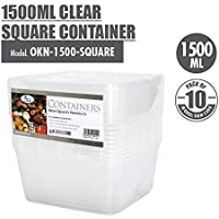 ACE 1500ml Clear Square Container (Pack of 10)