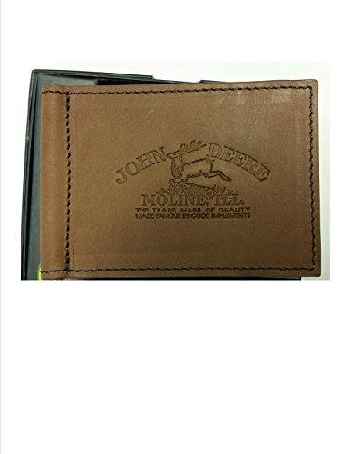 John Deere Vintage Style Embossed Moline Logo Leather Money Clip Wallet