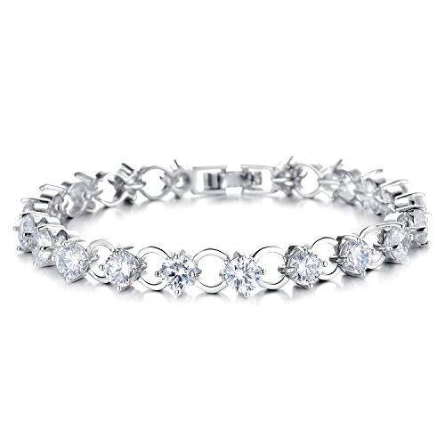 Topda123-Women's Stainless Steel Platinum Plated Inlaid Tennis Fashion Bracelet with Nice Box (Clear)
