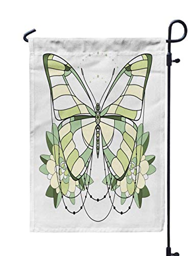 Shorping Spring Garden Flag, 12x18Inch Beautiful Green Butterfly Icon Isolated on White Background Insects Art for Holiday and Seasonal Double-Sided Printing Yards -