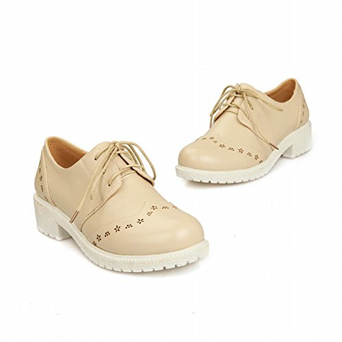 Carol Chaussures Casual Femmes Lace-up Confort Simple Neutre Faible Chunky Talon Oxfords Chaussures Beige