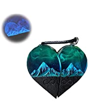 Wood Resin Paired Heart Pendants Mountains, Wood Resin Green Heart Necklace Jewelry, Secret Magical World Inside Necklace, Eco Epoxy Jewelry for Favorite Person Gift