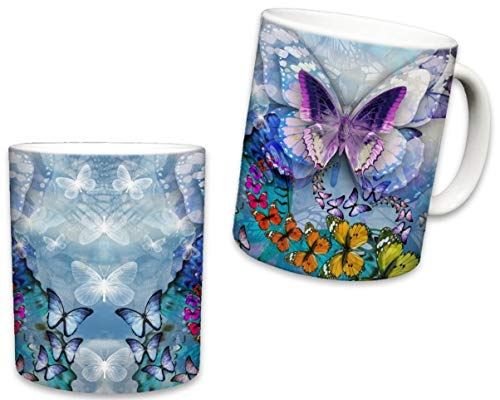 Sweet Gisele | Butterfly Mug | Ceramic Coffee Cup Souvenir | Colorful Design | 3D Graphic Monarch Butterflies | Beautiful Color Accents | Great Novelty Gift | 11 Fl. Oz (Blue) ()