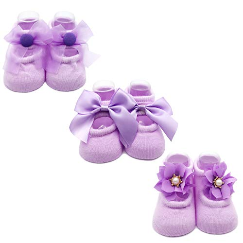 Elesa Miracle Non-skid Baby Girl Toddler Mary Jane Socks, Newborn Baby Photography Props Anti Slip Flower Pearl Bownote Socks Value Set in Gift Box (M for 6-12 Months, Lavender) from Elesa Miracle