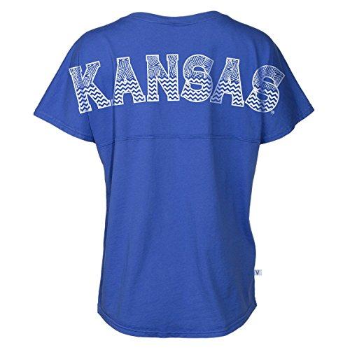 Official NCAA University of Kansas Fighting Jayhawks KU ROCK CHALK! Women's Short Sleeve Spirit Wear Jersey T-Shirt