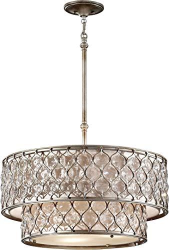 (Feiss F2707/6BUS Lucia Crystal Mini Chandelier Lighting, Satin Nickel, 6-Light (25