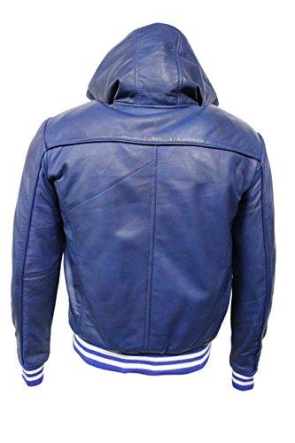 BASEBALL 4486 Bleu Hommes Hoody Slim Fit élégant HipHop veste en cuir italienne