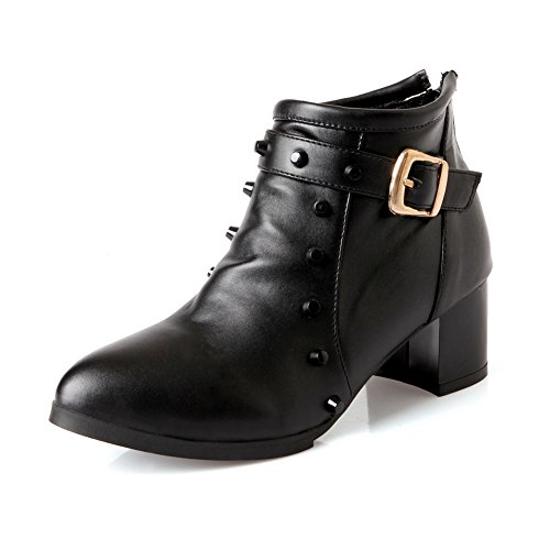AdeeSu Womens Buckle Rivet Chunky Heels Imitated Leather Boots Black