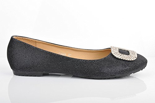 Black Sparkly Ballerinas Glitter Prom Evening Pumps Ballets jZdhFFqxA