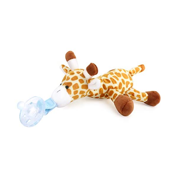 Zooawa Baby Pacifier, Giraffe Pacifier Holder with Detachable Plush Stuffed Animal Toy for Infant Boys Girls 3-36 Months