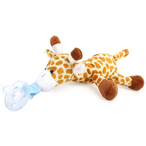, Giraffe Pacifier Holder with Detachable Plush Stuffed Animal Toy for Infant Boys Girls 3-18 Months ()