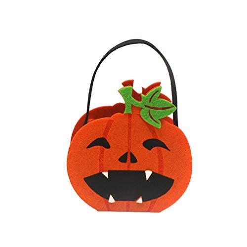 (QIAOYA 1 Pcs Halloween Pumpkin Candy Tote Bag Non-Woven Candy Basket Handbag Ghost Festival Children Cookies Gift Bag Halloween Trick or Treat Bag Decorations)