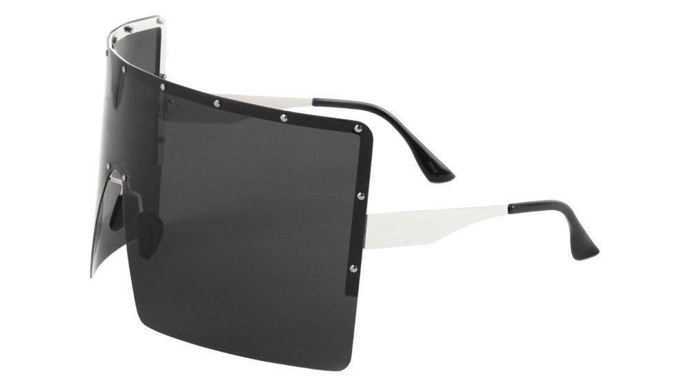 Flat Top XL Square Oversized Rimless Shield Sunglasses (Silver Frame, Black Super Dark)