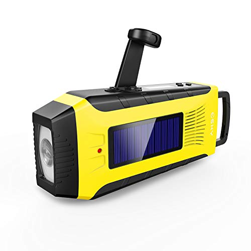 Esky Emergency Radios Hand Crank Solar Charge Radio Weather Radio AM/FM/NOAA Radio with 2000mAh Rechargeable Battery,3W Flashlight and Loudly Alarm(Yellow) ES-CR03 (ESCR03)