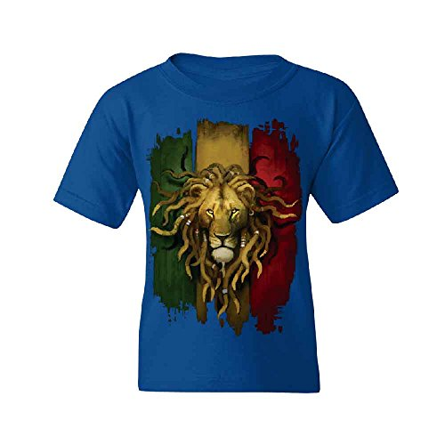 Zexpa Apparel Rasta Lion Rastafarian Haile Selassie Youth T-shirt Fashion Quality Tee Royal Blue Youth (Selassie Halloween)