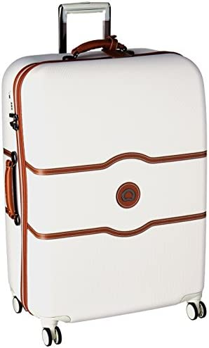 DELSEY Paris Chatelet Hard+ Hardside Luggage with Spinner Wheels, Champagne White, Checked-Large 28 Inch