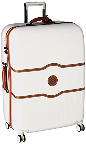 Delsey Luggage Chatelet Hard+, Large Checked Luggage, Hard Case Spinner Suitcase, (Leather Zippered Tie Case)