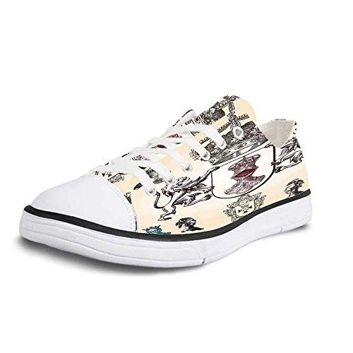 (Canvas Sneaker Low Top Shoes,Medieval Shield Design with Various Ancient Figures Coat of Arms Blazon Crown Print Women 6 )
