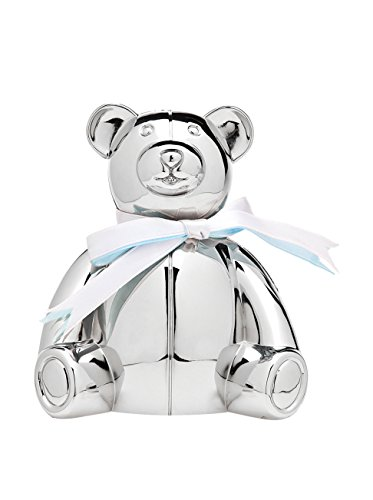 Godinger Silver Art Baby Newborn Teddy Bear Money Savings Coin Piggy Bank With Blue And White Laces