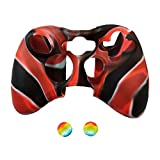 Pandaren Soft Silicone Skin for Xbox 360 Controller Set(Blackred Skin X 1 + Thumb Grip X 2)