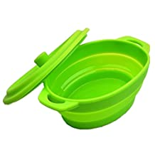 Allforhome Portable Folding Storage Basin Silicone Bowl Oval Shaped Small Steaming Tray With Cover Expandable Collapsible Pet Travel Bowl