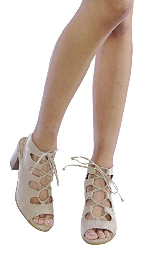 OLIVIA K Women's Low Chunky Heel Lace Up Cut Out
