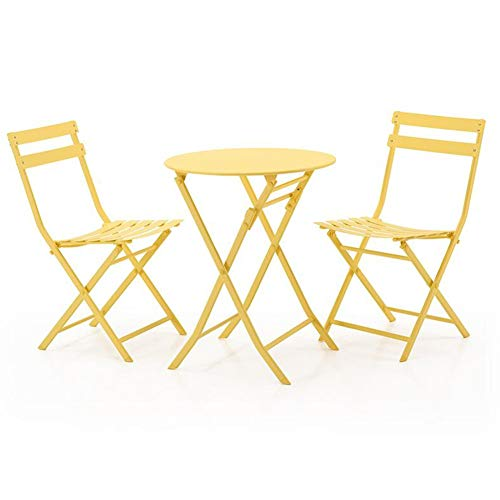 - 3 Piece Folding Tables Outdoor Chair Metal Patio Bistro Set Garden Furniture Cocktail Table CJC (Color : Yellow, Size : Round Table)