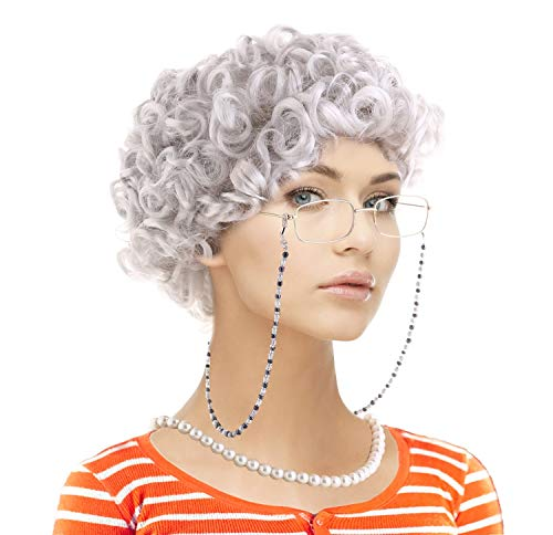 Adult Granny YO MOMMA Old Grey Curly Unisex Costume Wig