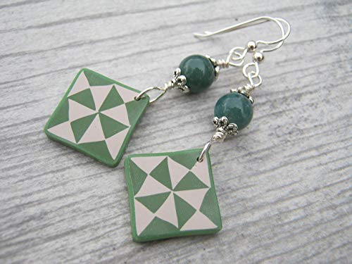 Green Quilt Block Earrings, Sterling Silver, Moss Agate Quilters Jewelry, Limited Edition Polymer Clay Earthy ()