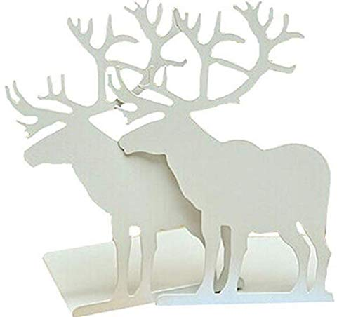 Ruotong Fashion Creative Cartoon Cute Iron Elk Moose Pattern Nonskid Metal Office Desk Bookends Art Bookend (White)