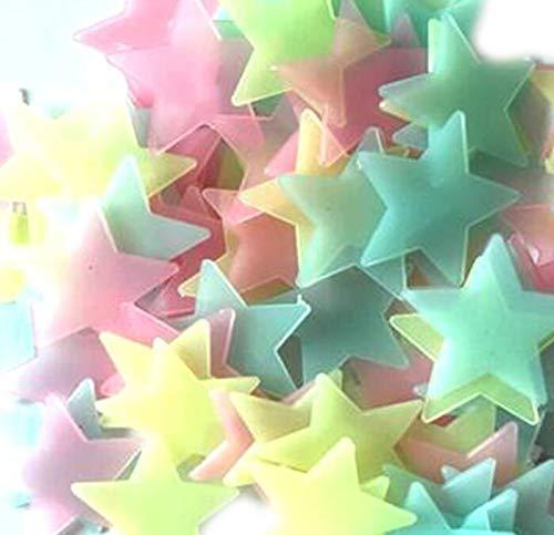 Whyyudan Decorazione Adesivi murali in plastica fluorescente luminosa da 100 pezzi stelle brillanti al buio