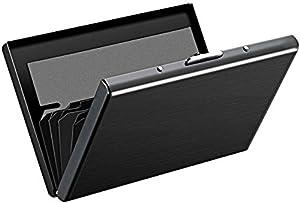 Storite 6 Slots Metal RFID Blocking Credit Card Holder –(Black, 9.5 x 6.5 x 1.3 cm)