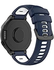 Yoobuu Silicone Watch Strap Compatible with Garmin Forerunner220/230/235/620/630/735,Approach S20/S5/S6 Sport Replacement Band (Blue/White)