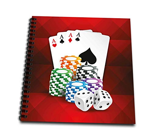 3dRose Sven Herkenrath Sport - Illustration of Poker Card with Chips Casino Hobby - Drawing Book 8 x 8 inch (db_294932_1)
