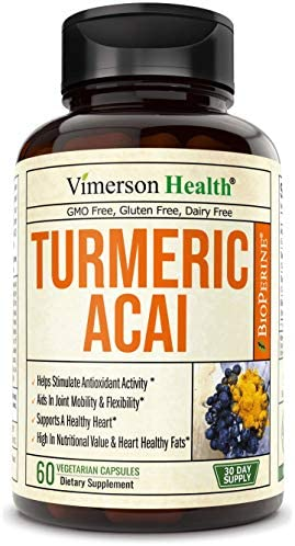 Turmeric Curcumin with Acai Berry Powder Supplement. Plant-Based Antioxidant Properties. Helps Maintain Proper Joint Function. High in Heart Healthy Fats. Supports Digestive Activity. 60 Capsules.