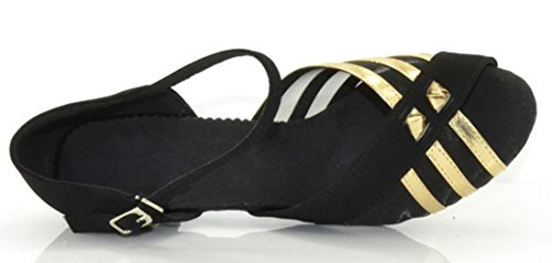 Low Single Strap Mesh Ballroom Peep Knot Buckle Black Toe Dance TDA With Closure Womens Shoes Heel Suede BEqwW5Y