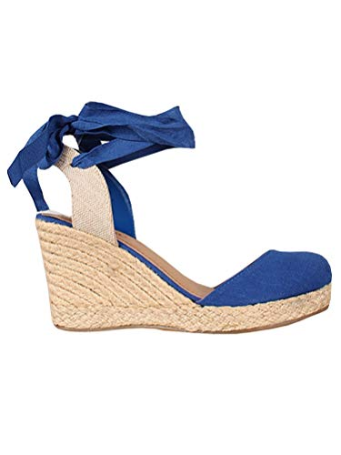 Womens Wedge Espadrille Sandals Closed Toe Platform Lace Up Slingback Ankle Wrap Strap Sandals Blue ()
