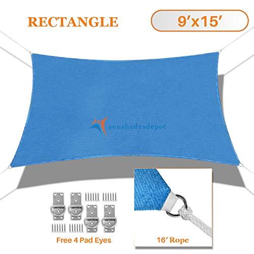 TANG Sunshades Depot 9 x15 Sun Shade Sail Rectangle Permeable Canopy Blue Custom Commercial Standard 180 GSM HDPE