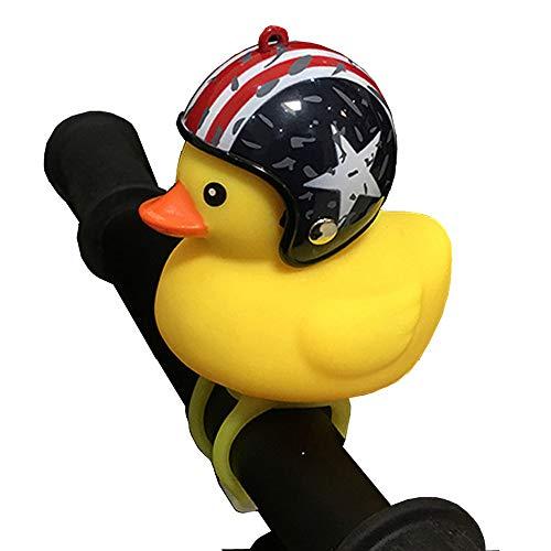 NEEAI Kids Bike Horn Cute Bicycle Lights Bell Squeeze Horns for Toddler Children Adults Cycling Light Rubber Duck Helmet ()