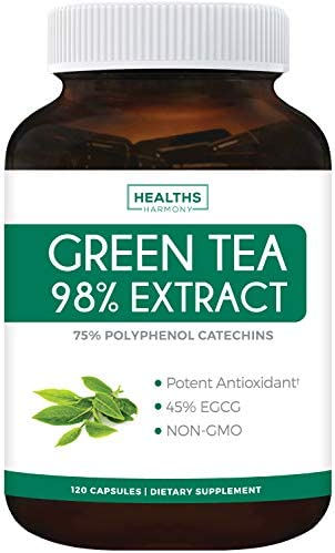 Green Tea 98% Extract with EGCG - 120 Capsules (Non-GMO) for Weight Loss & Metabolism Boost - Natural Diet Pills - Leaf Polyphenol Catechins - Antioxidant Supplement - 1000mg (500mg per Capsule) 1