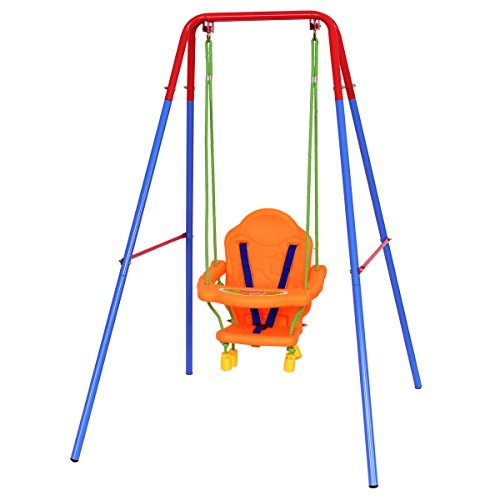 Costzon Toddler Swing Set, High Back Seat with Safety Belt, A-Frame Outdoor Swing Chair, Metal Swing Set for Backyard (Orange) (Toddler Baby Swing)