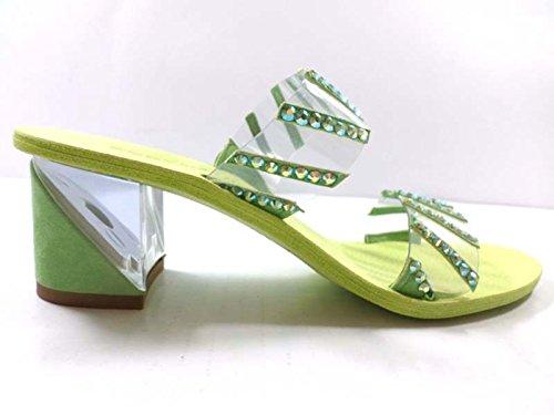 EDDY DANIELE 37 EU Sandalias Tacón Mujer Verde Gamuza / Cristales Swarovski AX806