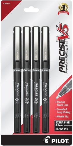 - Pilot Precise V5 Stick Rolling Ball Pens Extra Fine Point 4-Pack Black Ink (26002) Patented Precision Point Technology, Smooth Skip-Free Writing, Visible Ink Supply