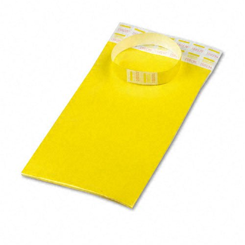 Advantus : Crowd Management Wristbands, Sequentially Numbered, Yellow, 100 Per Pack -:- Sold as 2 Packs of - 100 - / - Total of 200 Each