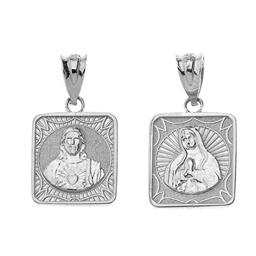 Certified 14k White Gold Immaculate Heart of Mary/Sacred Heart of Jesus 0.87