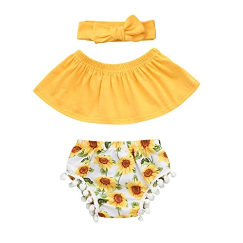 FEITONG Infant Baby Girls Sun Flower Printed Off Shoulder Top + Tassel Ball Shorts + Hairband Set (Yellow, 6-12M)
