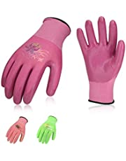Vgo Nitrile Coating Gardening and Work Gloves (3Pairs,Red+Pink+Black,NT2110)