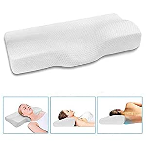Memory Foam Pillow Head Cervical Contour Pillow Ergonomic Neck Bed Pillowcase with Washable Cover for Pain Relief Side Sleeping Stomach Sleepers Car Indoor Home Bedroom Living Room Office (White)